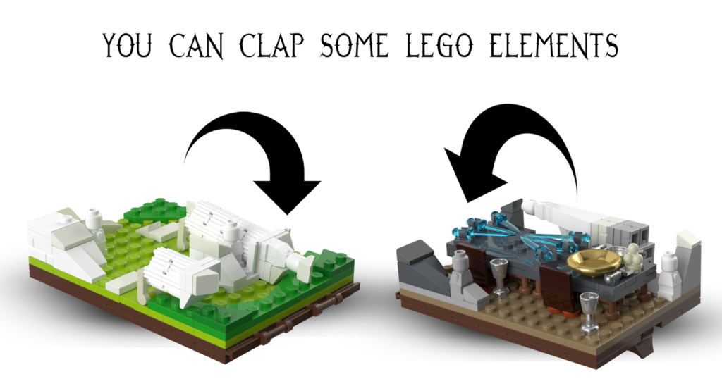LEGO Elements will collapse and fold down so each diorama will fit into the LEGO Wardrobe
